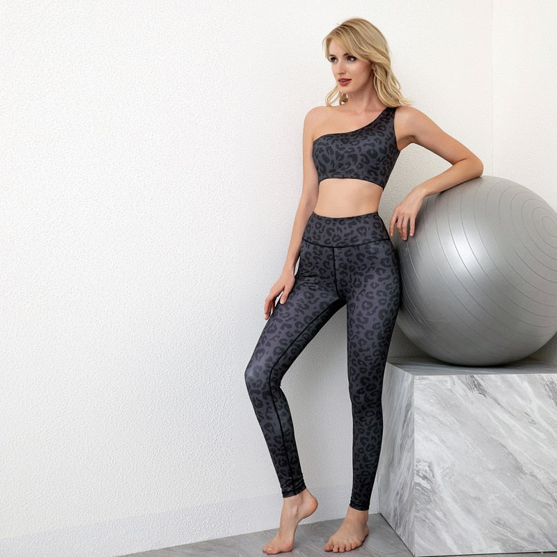 One Shoulder Leopard Sports Bra + Push Up Leggings - Black