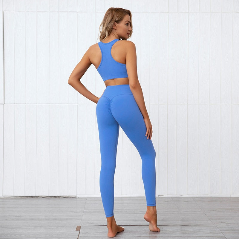 Solid Soft Sports Bra + Push Up Leggings - Blue