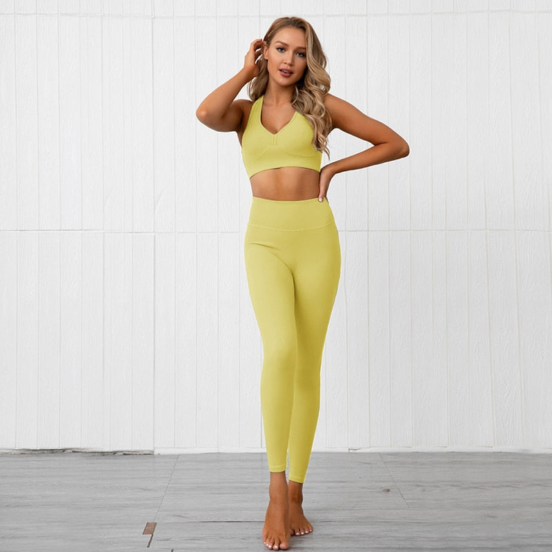 Solid Soft Sports Bra + Push Up Leggings - Yellow