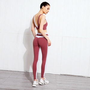 Load image into Gallery viewer, Split Colors Sports Bra + Push Up Leggings - Red