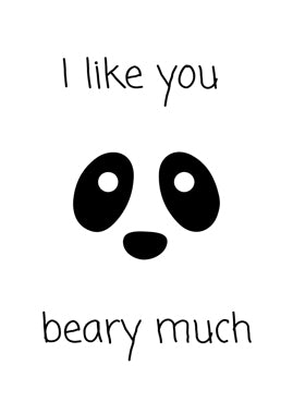 "Poster ""I like you beary much"" Panda"