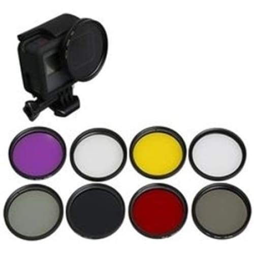 New: 52mm Dive Filter Set + Adapter Ring Lens Cap for GoPro 7 / 6 / 5 Black - Default