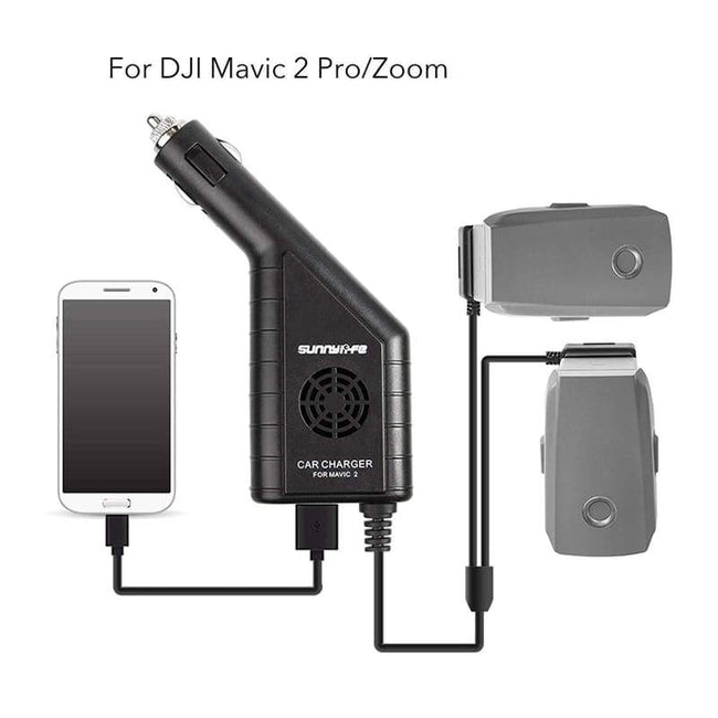 New: Car Battery Charger Accessories for Use with DJI Mavic 2 Pro Zoom Triple Output (USB + 2 x Battery) with Safety Cover Dual Battery