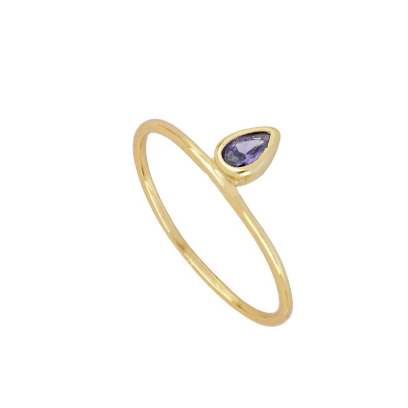 ANILLO PURPLE TEAR GOLD