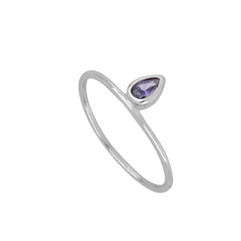 ANILLO PURPLE TEAR SILVER