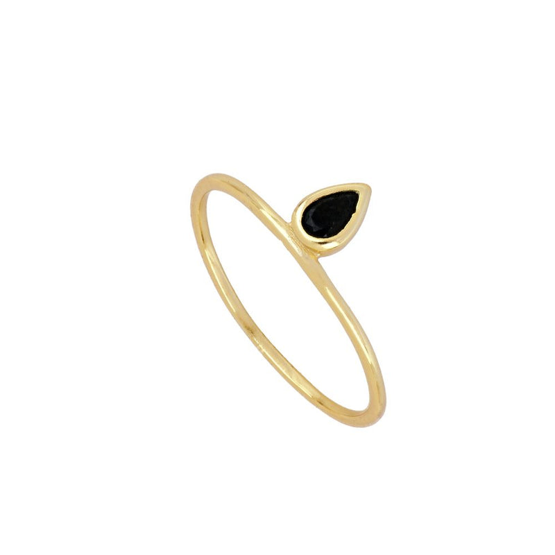ANILLO BLACK TEAR GOLD