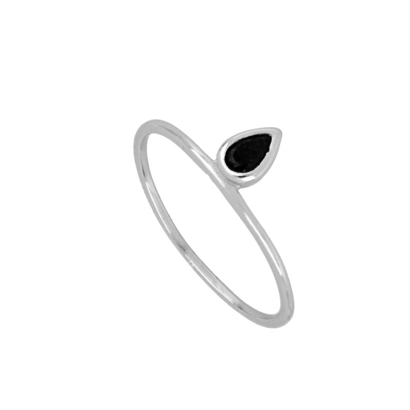 ANILLO BLACK TEAR SILVER