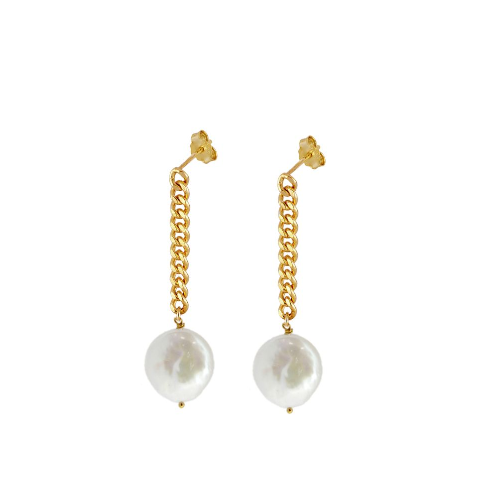 PENDIENTES PEARL CHAIN GOLD