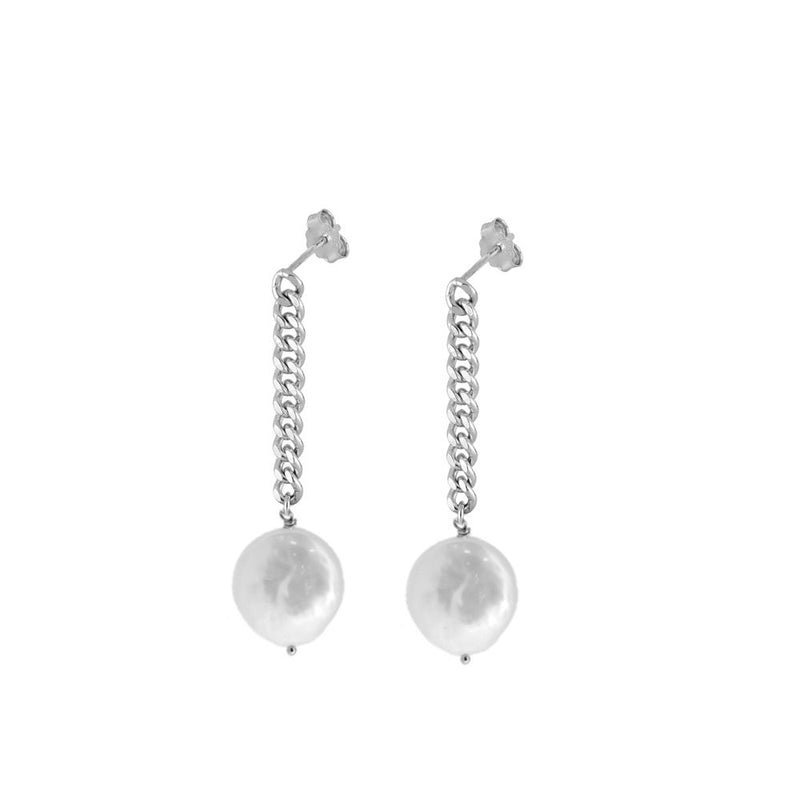 PENDIENTES PEARL CHAIN SILVER