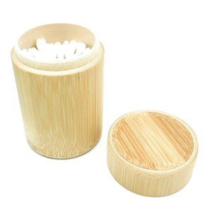 Bamboo Cotton Ear Bud Holder | Incl. 100 Ct