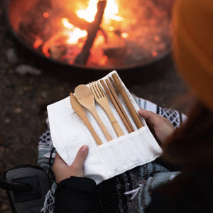 sustainable, zero waste, earth-friendly, plastic-free Bamboo Travel Cutlery | Beige - Bamboo Switch