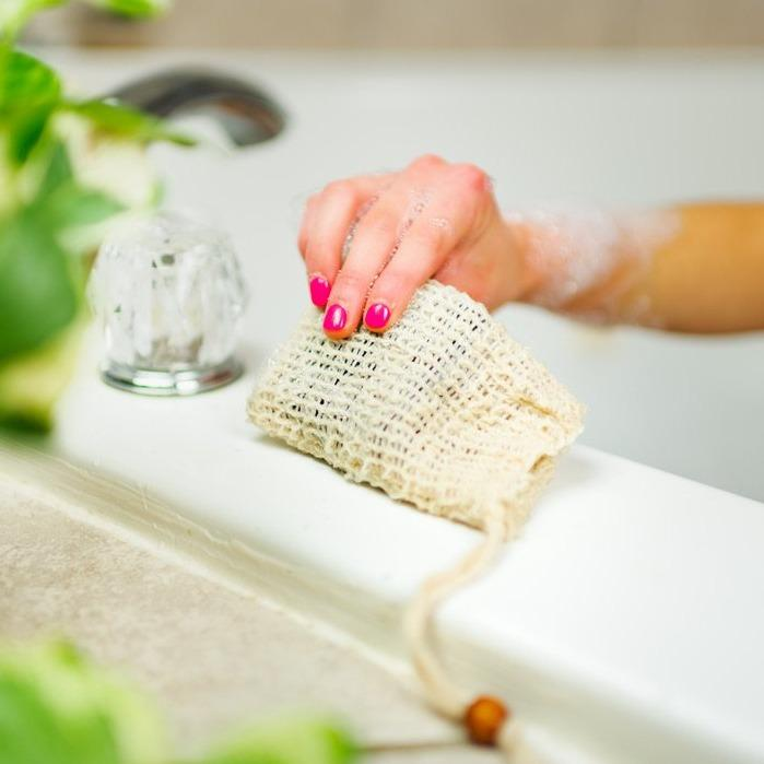 sustainable, zero waste, earth-friendly, plastic-free Sisal Soap Bag - Bamboo Switch