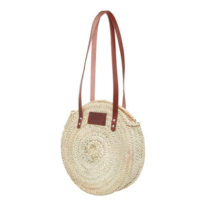 Large woven straw basket bag with zip by Henrietta Spencer