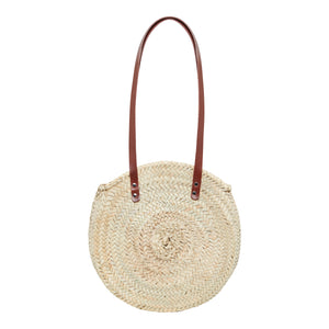 Henrietta Spencer Basket bags large round straw bag with leather