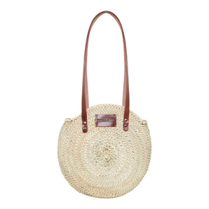 Henrietta Spencer round basket bag with leather handles and zip