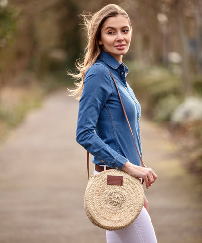 small round straw basket bag  - Henrietta Spencer