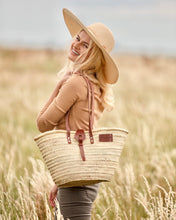 New Classic basket bag by Henrietta Spencer, New straw bag with leather details and zip closer. Unique handmade basket bag