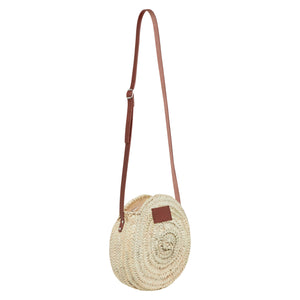 The Framlingham small round basket bag with leather straps