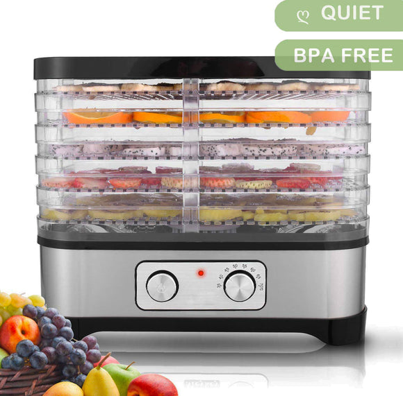 Electric Food Dehydrator, Stainless Steel Fruit Dehydrater Including 5 Stackable Trays, Digital Temperature Settings and Timer, Noiseless and BPA Free [US STOCK]