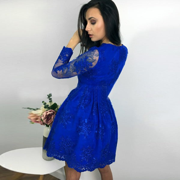 Pretty V-Neck Long Sleeves Royal Blue Short Cheap Homecoming Dresses with Applique, QB0193