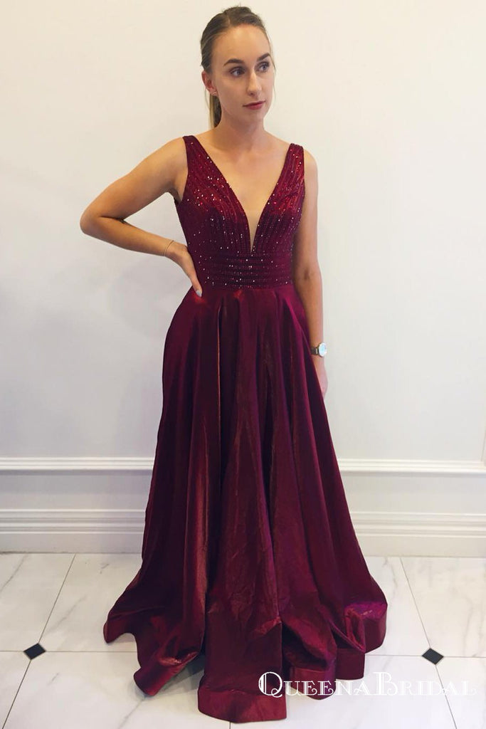Charming V-neck Long Cheap Burgundy Prom Dresses with Beaded, QB0762