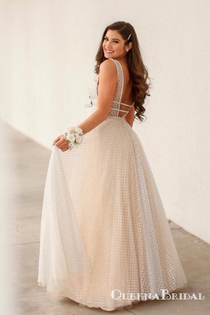 Charming V-Neck Mesh Long Ivory Long Cheap Prom Dresses, QB0761