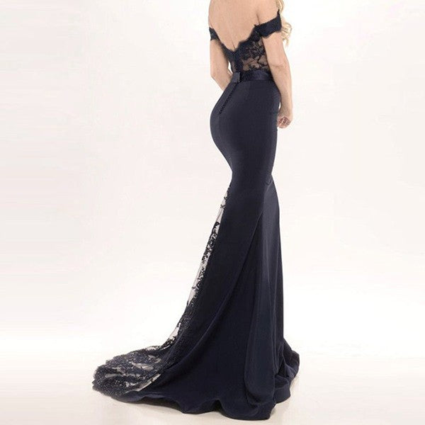 Mermaid Off-Shoulder Backless Long Cheap Lace & Satin Prom Bridesmaid Dresses Online, QB0116