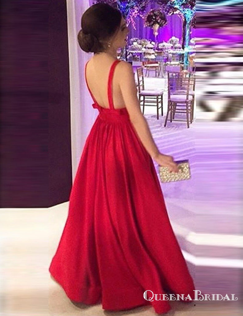 A-Line Deep V-Neck Long Backless Red Satin Prom Dresses with Bow, QB0574