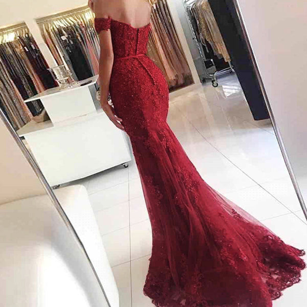 Mermaid Off the Shoulder Burgundy Tulle Prom Dresses with Appliques Beading, QB0231
