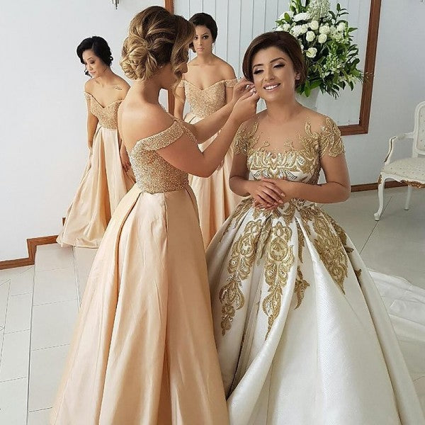 Sexy Off-Shoulder Satin Bridesmaid Dresses with Beading & Lace, QB0119