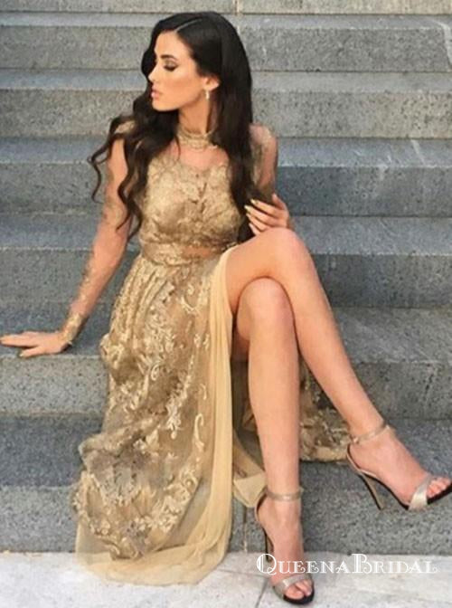 Charming A-Line High Neck Gold Lace Prom Dresses with Appliques, QB0578