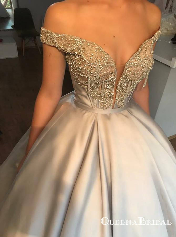 Ball Gown Off-the-Shoulder Light Grey Satin Prom Dresses with Beading, QB0537