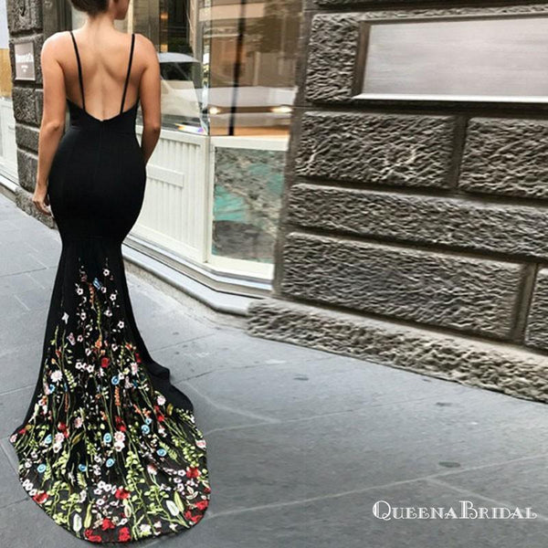 2019 Mermaid Spaghetti Straps Long Black Prom Dresses with Embroidery, QB0500