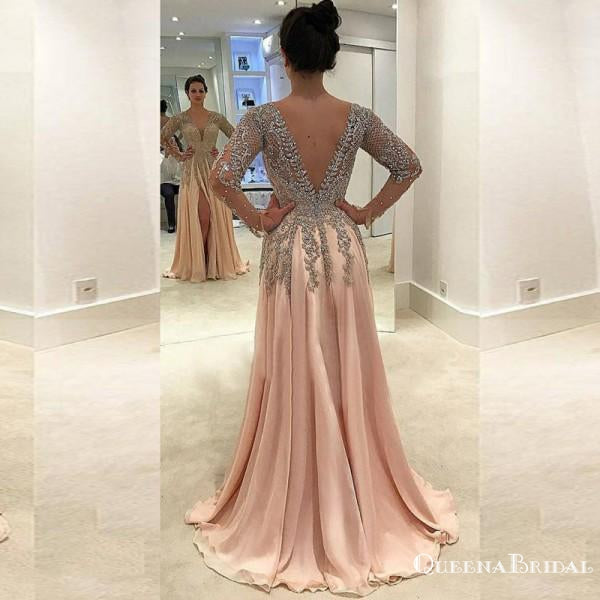 Sexy V-Neck Long Sleeve Light Chiffon Prom Dresses with Appliques Beading, QB0232