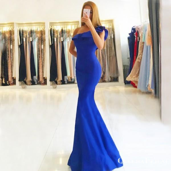 Mermaid One Shoulder Floor-Length Royal Blue Satin Prom Dresses with Ruffles, QB0254