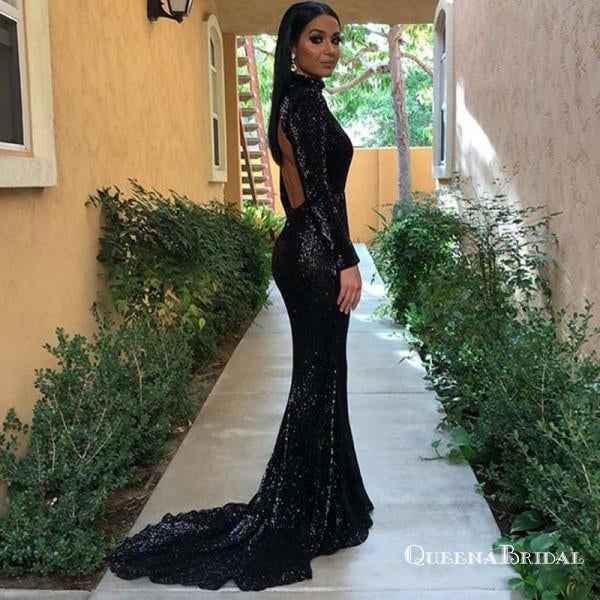 Mermaid High Neck Open Back Sweep Train Black Sequined Prom Dresses, QB0242