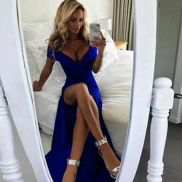 A-Line Off the Shoulder Split Front Royal Blue Satin Prom Dresses, QB0255
