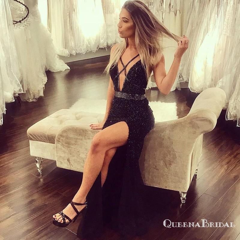Sexy Mermaid V-Neck Long Black Prom Dresses with Beaded&Slit, QB0513
