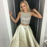 Two Piece A-Line Round Neck Light Champagne Satin Prom Dresses with Beading, QB0244