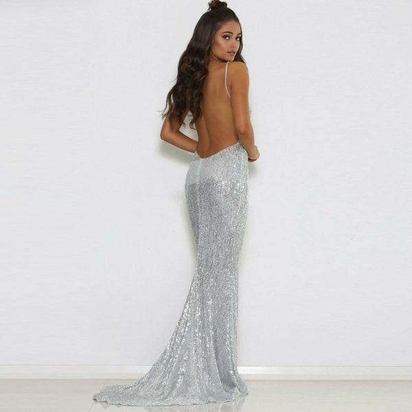 d9ac64ca93eb Mermaid Deep V-Neck Backless Sweep Train Silver Sequined Prom Dresses,  TYP0240