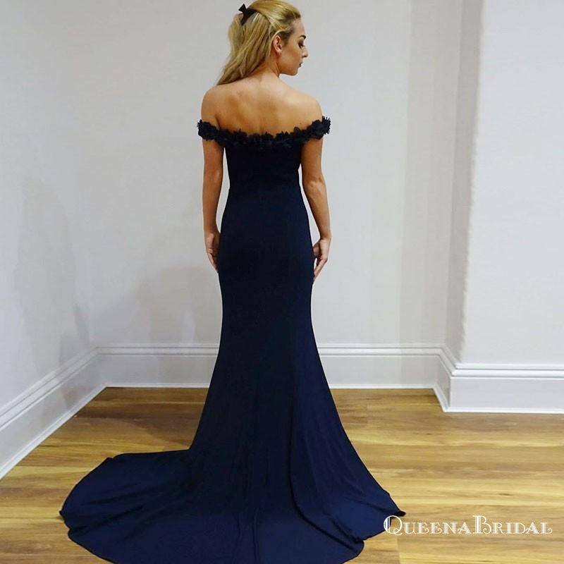 Mermaid Off-Shoulder Long Navy Blue Prom Dresses with Appliques, QB0508