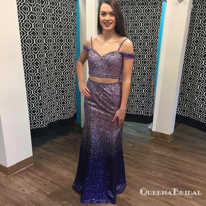Two Piece Spaghetti Straps Long Ombre Purple Sequined Prom Dresses, QB0547