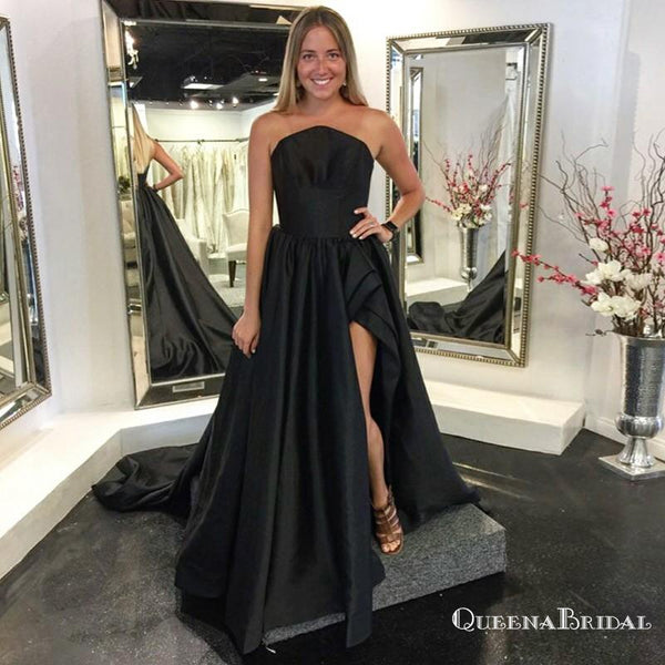 A-Line Strapless Long Cheap Black Satin Prom Dresses with Split, QB0542