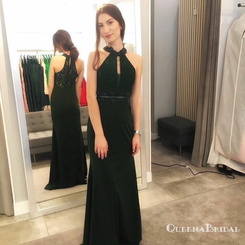 Mermaid Halter Long Dark Green Prom Dresses with Lace Keyhole, QB0515