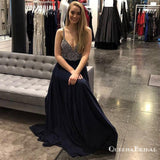 A-Line Spaghetti Straps Long Navy Blue Prom Dresses with Beading, QB0533
