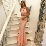 Two Piece Cross Neck Long Blush Pink Prom Dresses with Keyhole, QB0528