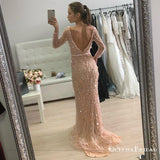 Mermaid V-Neck Long Sleeves Blush Pink Prom Dresses with Sequins, QB0518