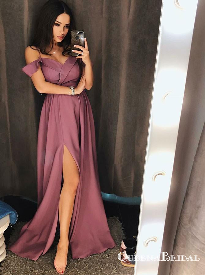 A-Line Cold Shoulder Long Purple Chiffon Satin Prom Dresses with Split, QB0534