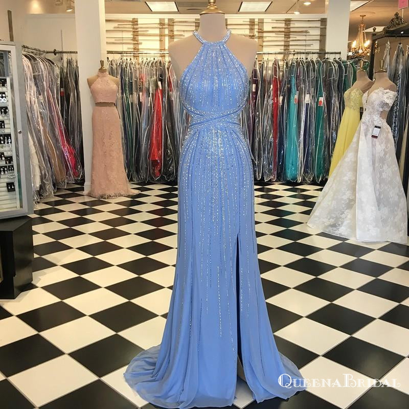 2019 Sheath Crew Long Light Blue Prom Dresses with Beading Split, QB0512