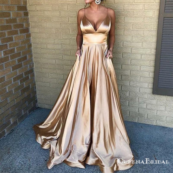 A-Line Spaghetti Straps Long Champagne Prom Dresses with Pockets, QB0524